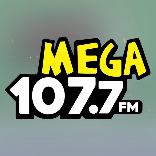 Logotipo de La Mega, 107.7 FM