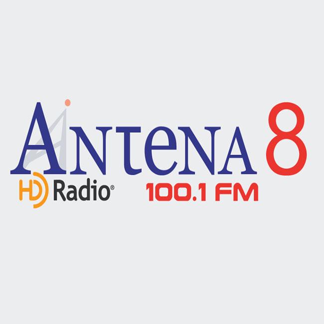 Logotipo de Antena 8 100.1 FM